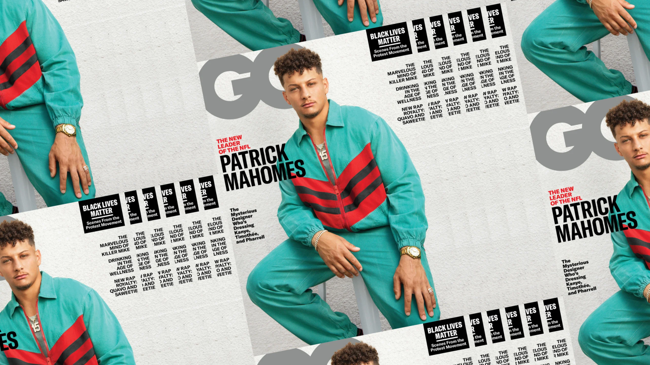 Patrick Mahomes wears Omega on August 2020 GQ Cover