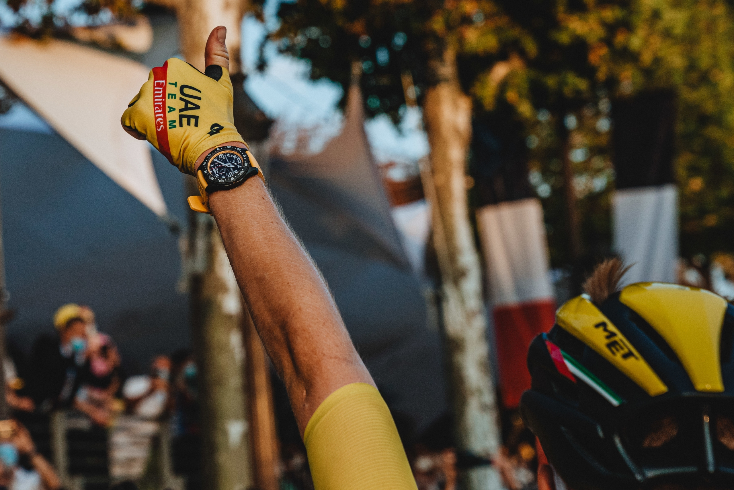 Tadej Pogačar wears a yellow Breitling Endurance Pro during the final stage of the Tour de France