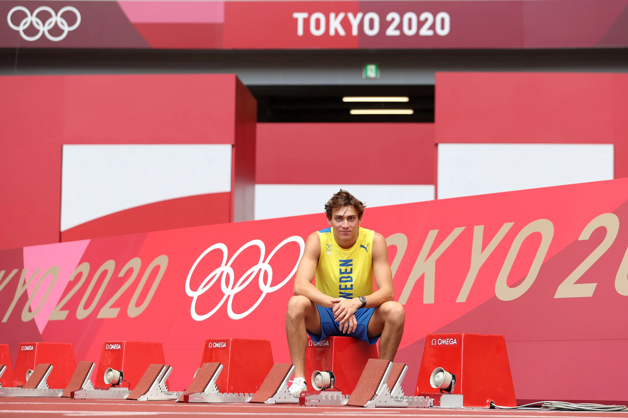 Mondo Duplantis at Tokyo Olympics 2020 with Omega on wrist